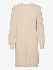 Object - OBJNETE V-NECK L/S DRESS A Q - knitted dresses - sandshell - 0