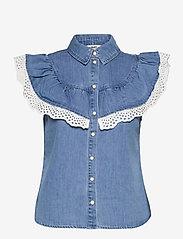 Object - OBJATHENA S/L TOP - denim shirts - light blue denim - 0