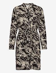 Object - OBJTALUSA L/S BIRDY DRESS - summer dresses - black - 0