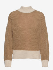 Object - OBJSANA L/S KNIT PULLOVER A OFW - neulepuserot - fossil - 0