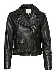 OBJNANDITA LEATHER JACKET - BLACK