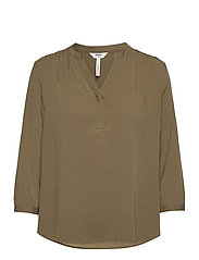 OBJBAYA 3/4 V-NECK BLOUSE - BURNT OLIVE