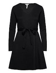 OBJSAVA L/S V-NECK DRESS - BLACK