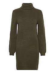 OBJEVE NONSIA ROLLNECK  KNIT DRESS - FOREST NIGHT