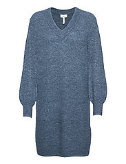 OBJNETE V-NECK L/S DRESS A Q - BLUE MIRAGE