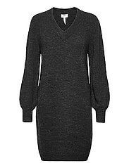 OBJNETE V-NECK L/S DRESS A Q - DARK GREY MELANGE