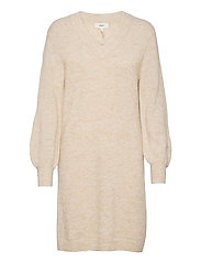 OBJNETE V-NECK L/S DRESS A Q - SANDSHELL