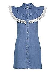 OBJATHENA S/L DRESS - LIGHT BLUE DENIM