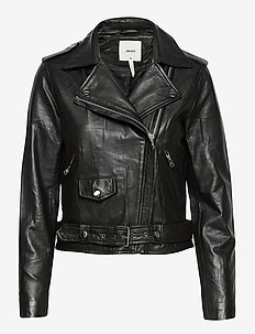 OBJNANDITA LEATHER JACKET NOOS - lederjacken - black