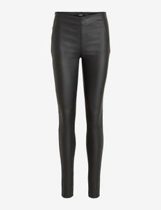 OBJBELLE MW COATED LEGGINGS NOOS - leggings - black