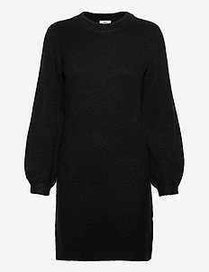 OBJEVE NONSIA L/S KNIT DRESS - knitted dresses - black