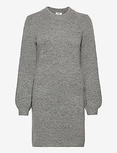 OBJEVE NONSIA L/S KNIT DRESS - robes en maille - light grey melange