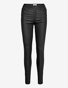 OBJBELLE MW COATED PANTS NOOS - trousers with skinny legs - black