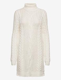 OBJAVA L/S ROLLNECK KNIT DRESS NOOS - gebreide jurken - gardenia