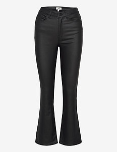 OBJBELLE MW 7/8 COATED FLARED PANT - flared jeans - black