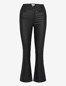 OBJBELLE MW 7/8 COATED FLARED PANT - uitlopende jeans - black