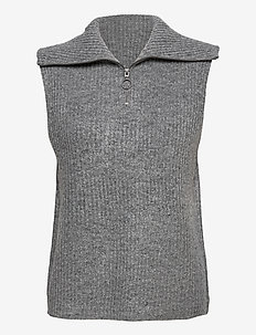 OBJRACHEL S/L KNIT VEST - vestes tricot - light grey melange