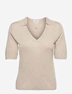 OBJTAMMY S/S  KNIT PULLOVER 114 - t-shirt & tops - sandshell