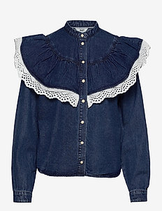 OBJYVONNE DENIM SHIRT - jeansblouses - medium blue denim