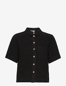 OBJHADY 2/4 TOP - overhemden met korte mouwen - black