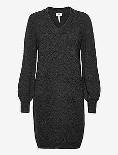 OBJNETE V-NECK L/S DRESS A Q - neulemekot - dark grey melange
