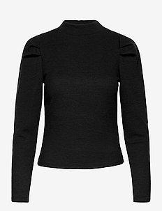OBJLUCA RIB L/S TOP A LMT - pitkähihaiset t-paidat - black