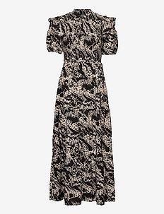 OBJTALUSA S/S MAXI DRESS - maxi dresses - black