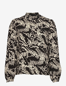 OBJTALUSA L/S TOP - long sleeved blouses - black