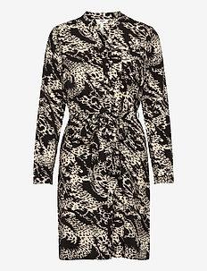 OBJTALUSA L/S BIRDY DRESS - midi dresses - black
