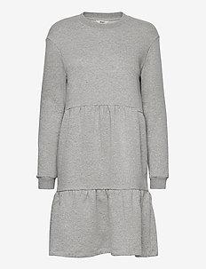 OBJNINY L/S SWEAT DRESS A FAIR - kesämekot - light grey melange