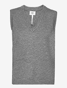 OBJTHESS S/L KNIT WAISTCOAT - gebreide vesten - medium grey melange