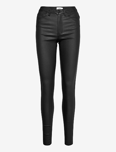 OBJBELLE MW COATED PANTS - trousers with skinny legs - black