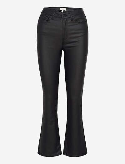 OBJBELLE MW 7/8 COATED FLARED PANT - flared jeans - black