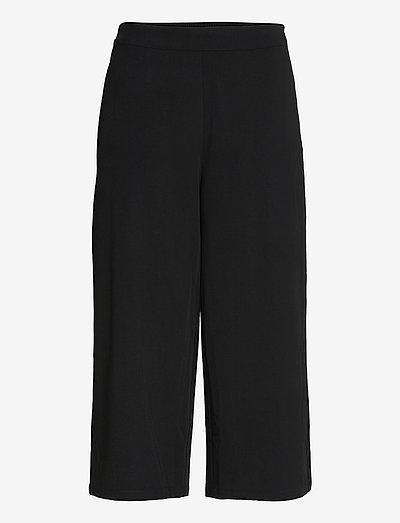 OBJCECILIE NEW MW CULOTTE PANTS - wide leg trousers - black