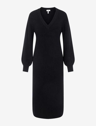 OBJMALENA L/S KNIT DRESS - kotelomekot - black