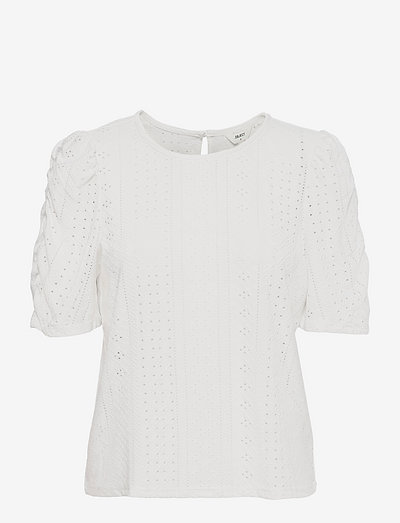OBJRITTA SS TOP PB10 .C - short-sleeved blouses - cloud dancer