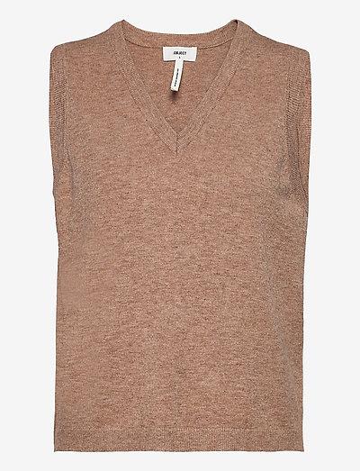 OBJTHESS S/L KNIT WAISTCOAT - knitted vests - chipmunk