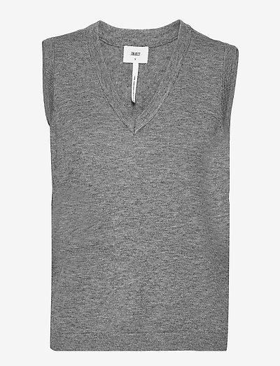 OBJTHESS S/L KNIT WAISTCOAT - knitted vests - medium grey melange