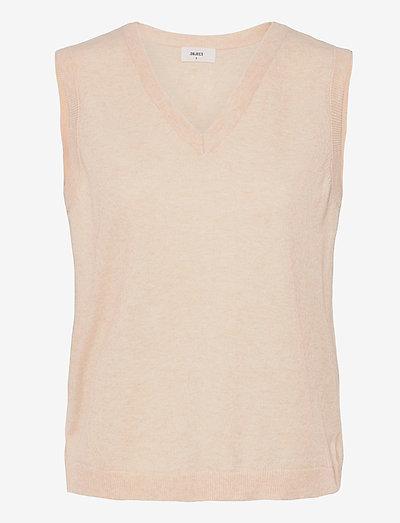 OBJTHESS S/L KNIT WAISTCOAT - knitted vests - sandshell
