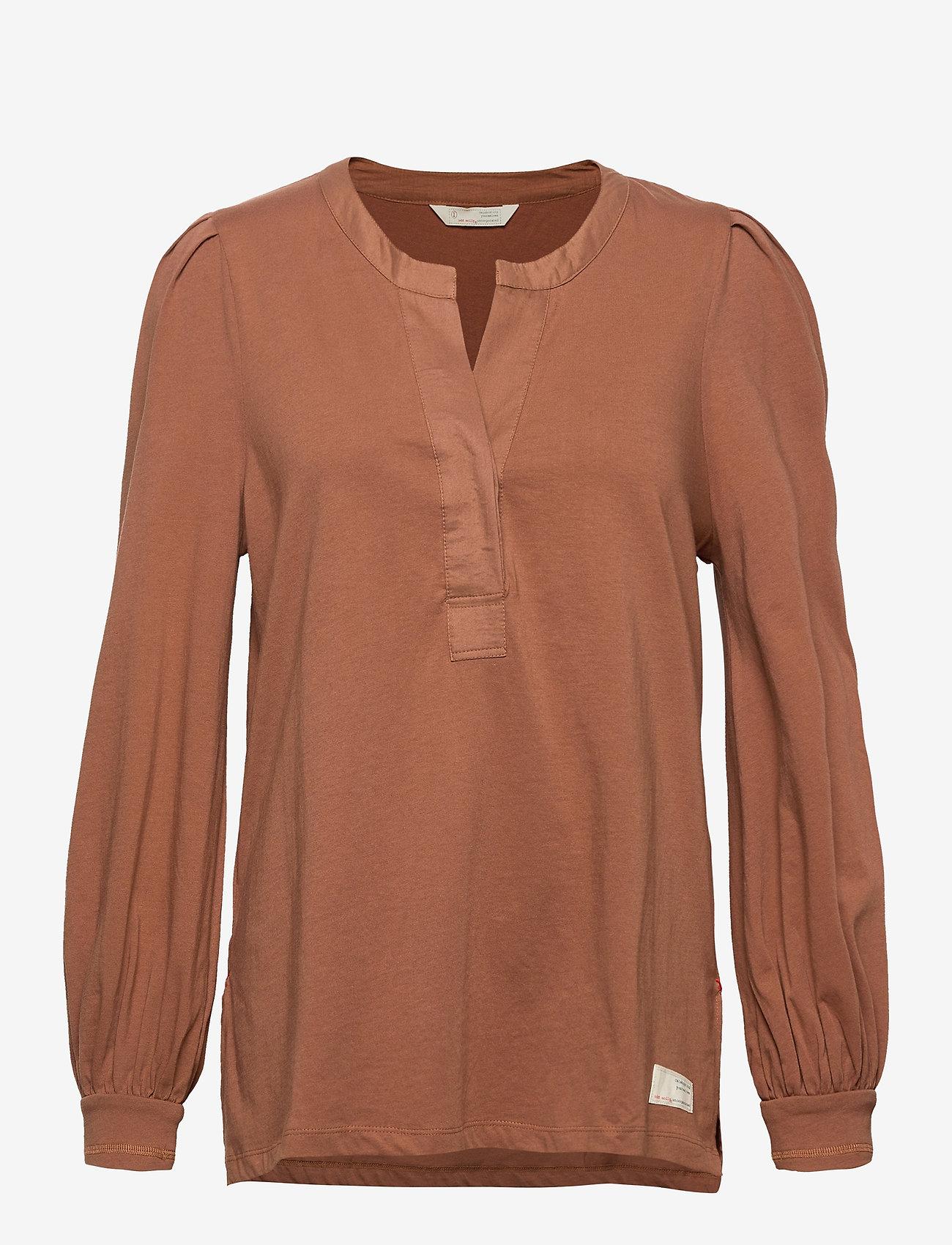 ODD MOLLY - Power Sleeve Top - langærmede bluser - coconut brown - 0