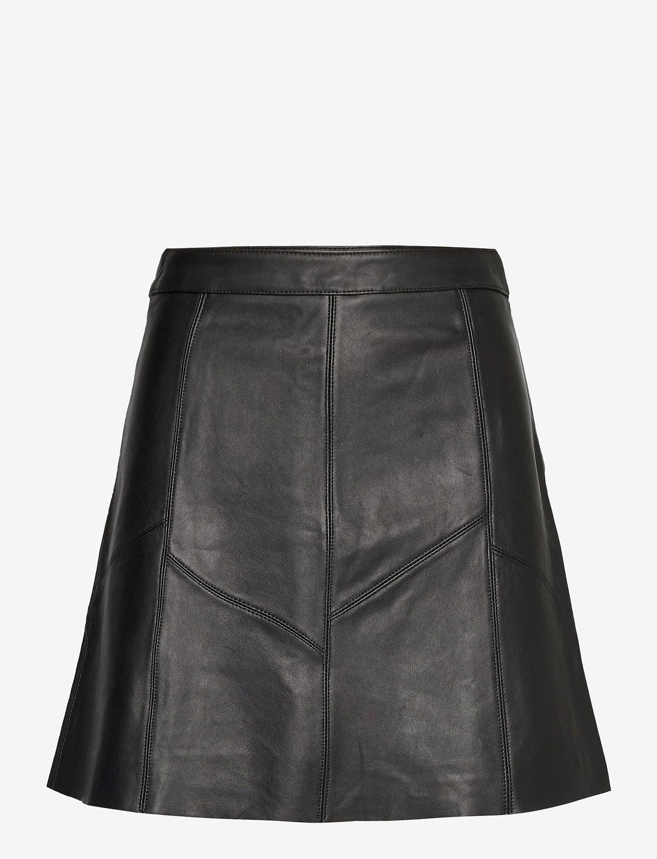 ODD MOLLY - Victoria Leather Skirt - korte nederdele - almost black - 1