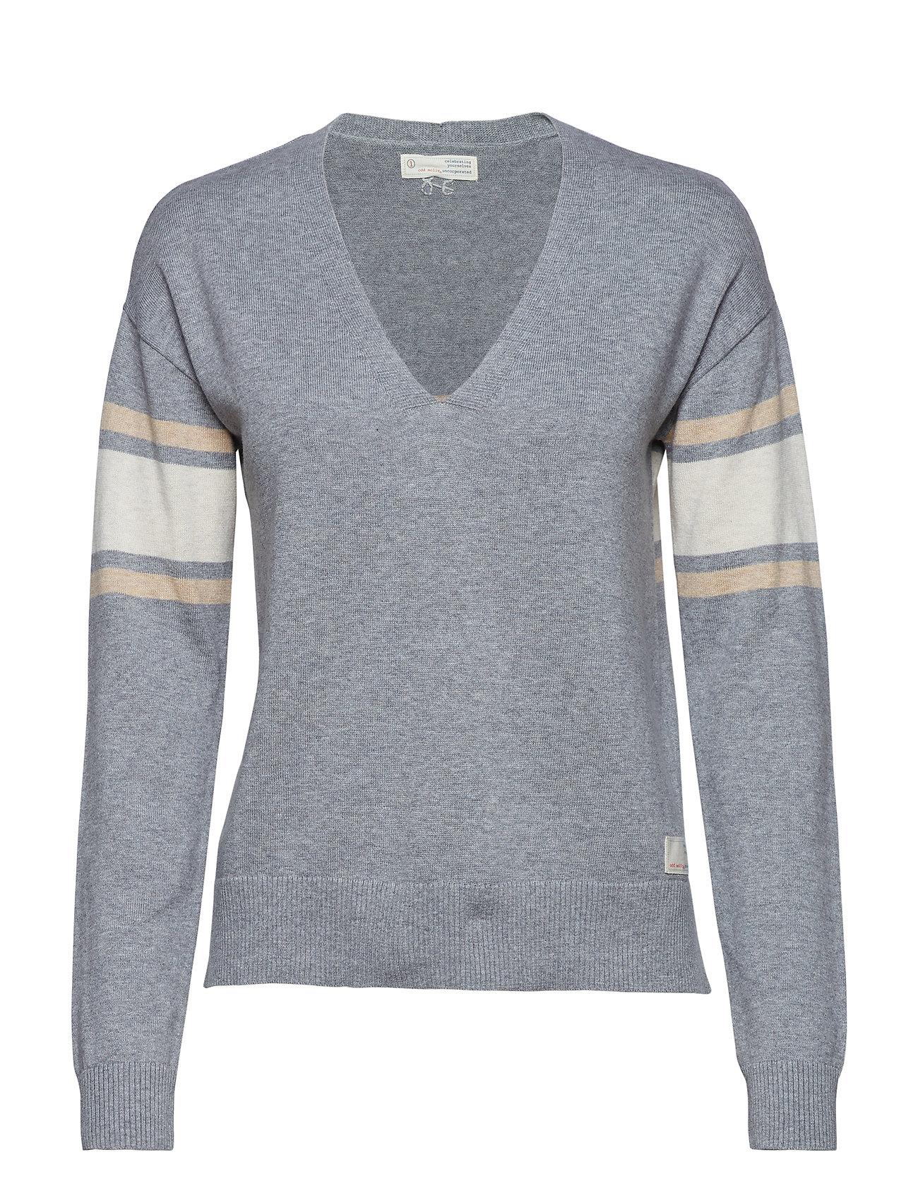 ODD MOLLY borderlands v-neck sweater - GREY MELANGE