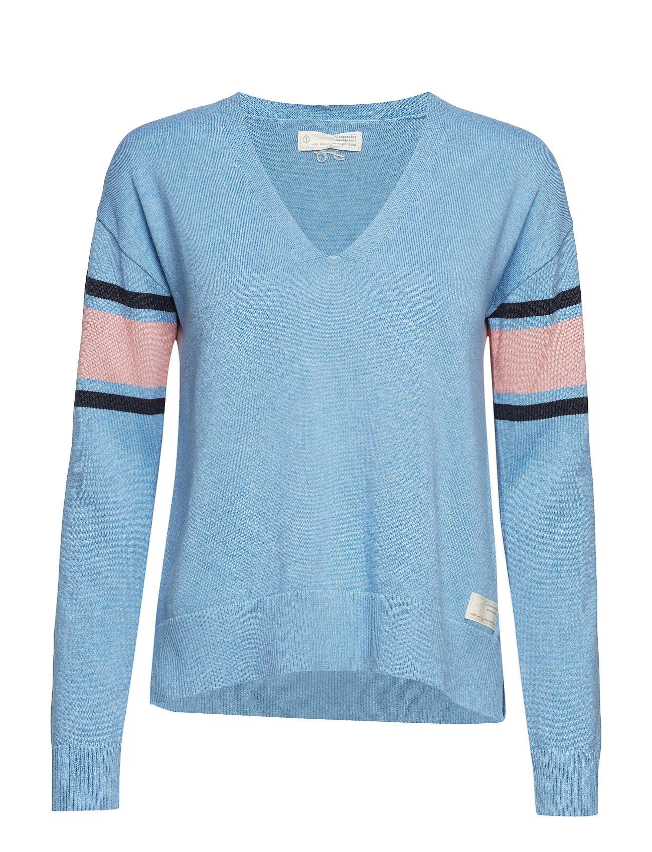 ODD MOLLY borderlands v-neck sweater - HERITAGE BLUE