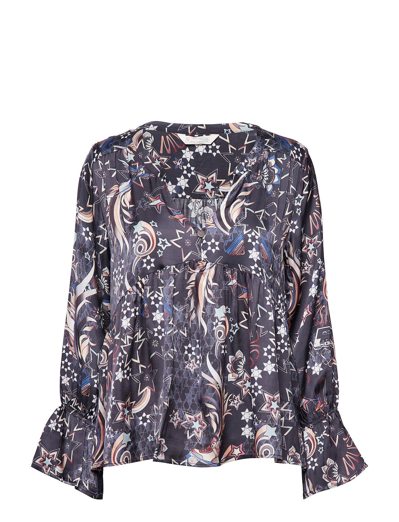 ODD MOLLY neon garden blouse - FRENCH NAVY