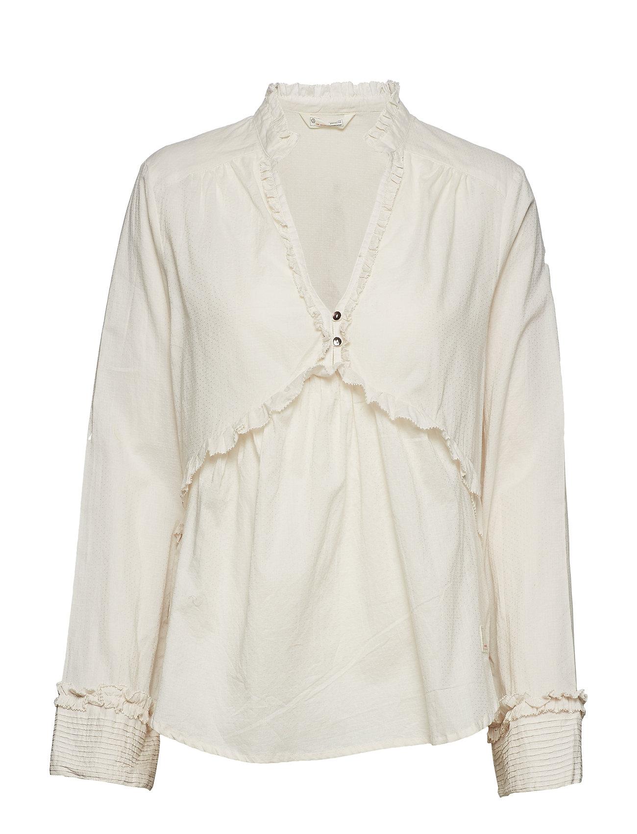 ODD MOLLY full frill blouse - MISTY WHITE