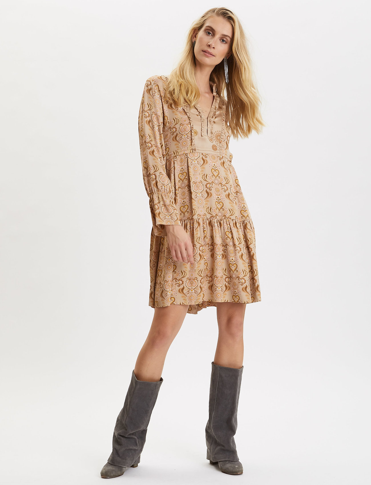 ODD MOLLY - Brilliant & Brave Short Dress - cocktailkjoler - light taupe - 0
