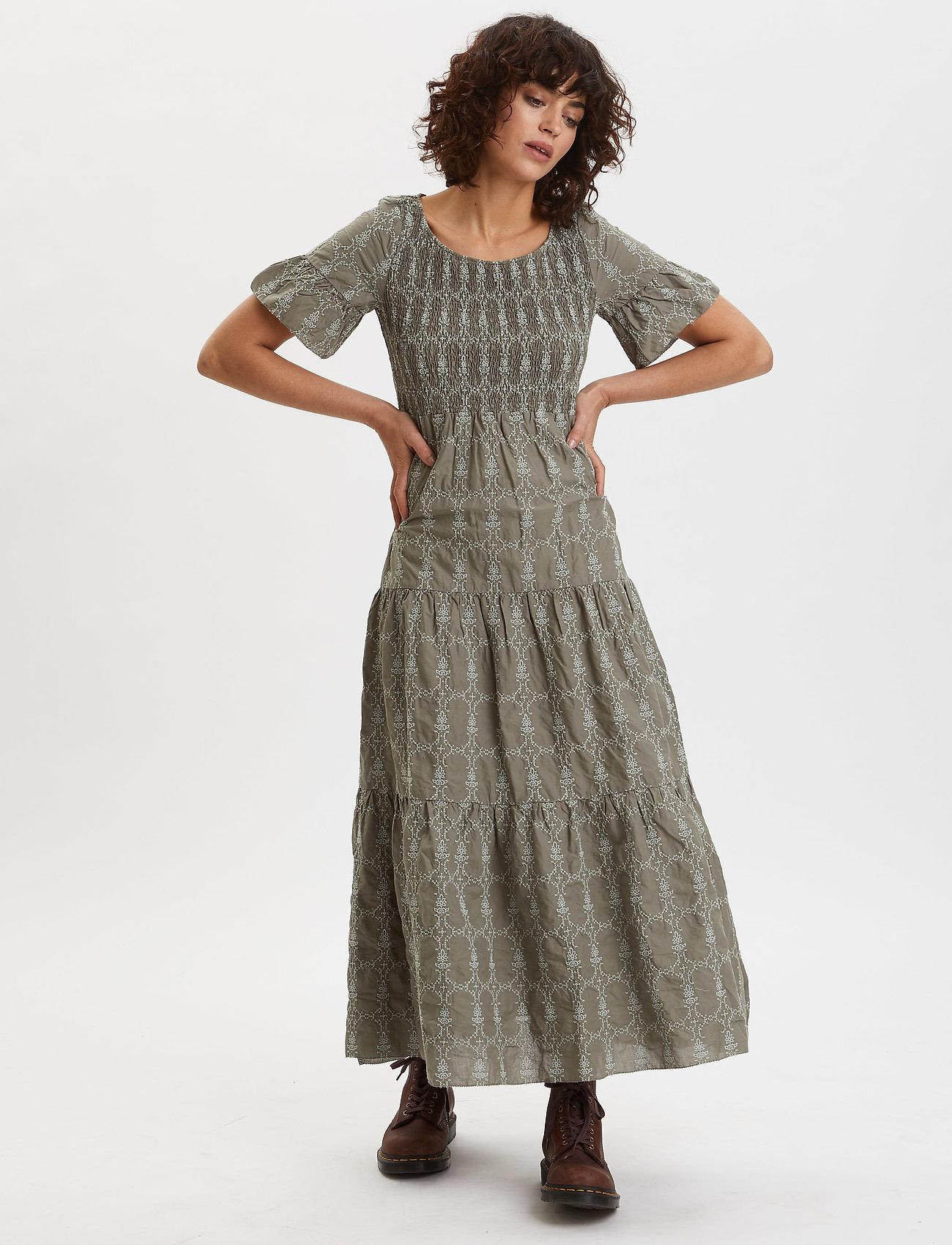 ODD MOLLY Powerful Cotton Dress - Sukienki DRIED FOREST - Kobiety Odzież.