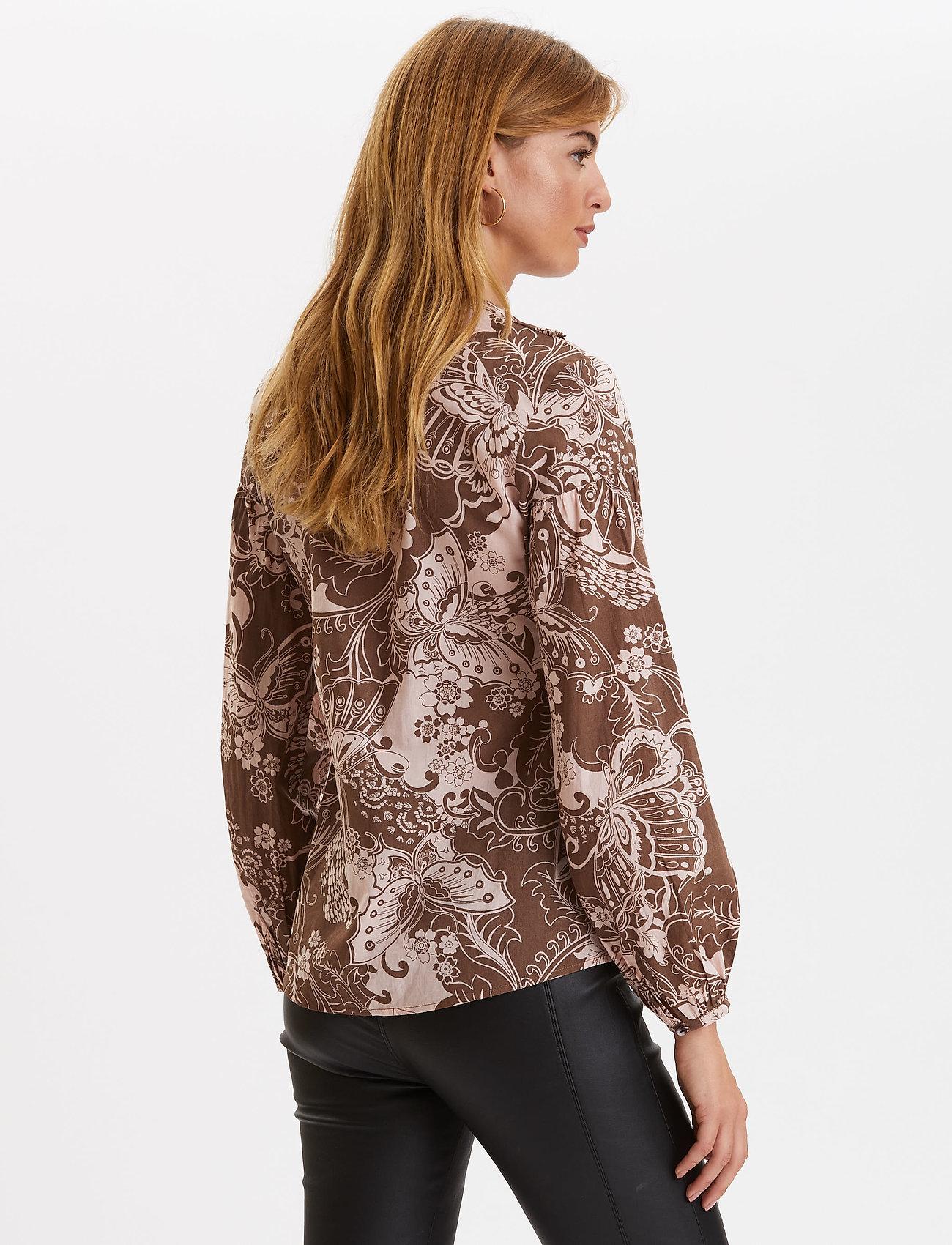 ODD MOLLY Puff-Puff Blouse - Bluzki & Koszule WASHED BROWN - Kobiety Odzież.