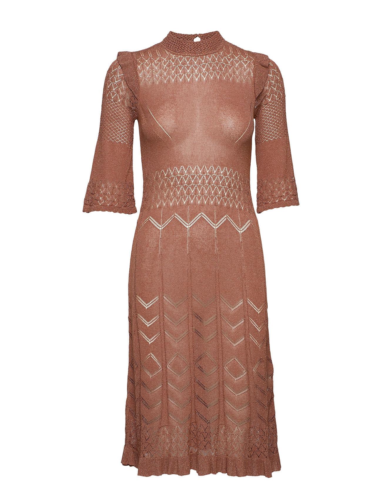 ODD MOLLY Pretty Pointelle Dress - RUST