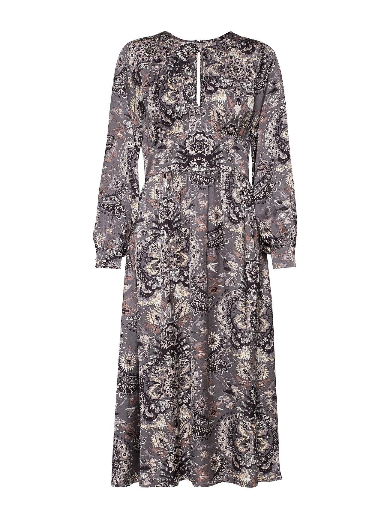 ODD MOLLY Head Turner Long Dress - ASPHALT